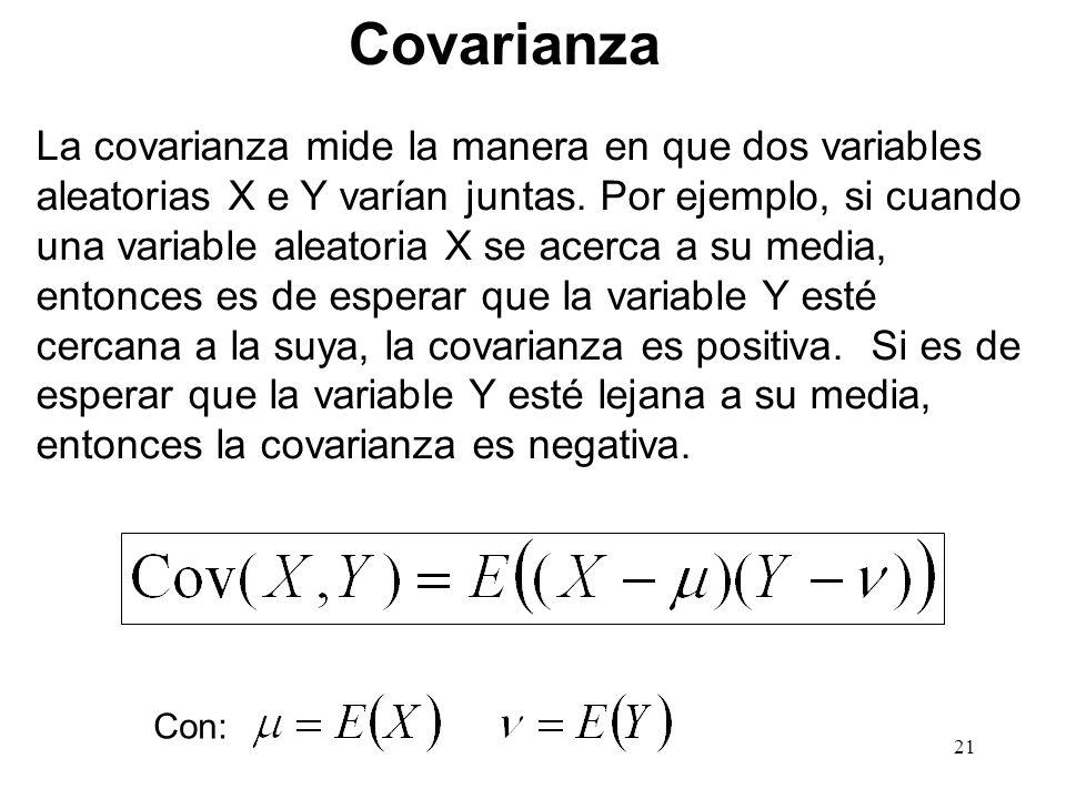 La covarianza mide la manera en que dos variables aleatorias X e Y varían juntas.