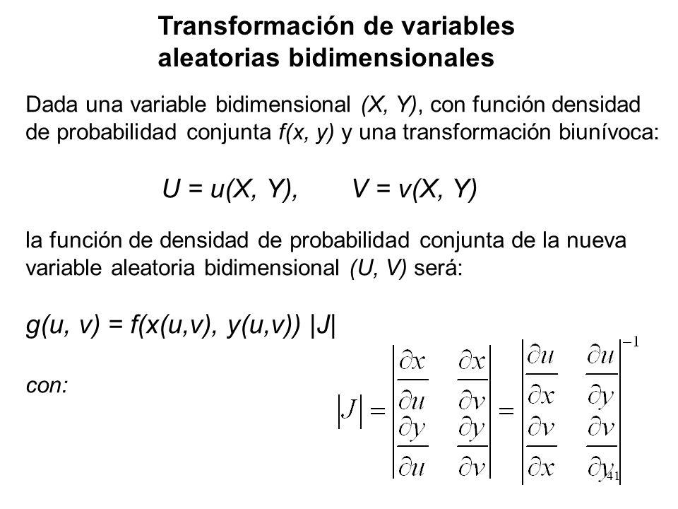 Transformación de variables aleatorias bidimensionales Dada una variable bidimensional (X, Y), con función densidad de probabilidad conjunta f(x, y) y una transformación biunívoca: U = u(X, Y), V = v(X, Y) la función de densidad de probabilidad conjunta de la nueva variable aleatoria bidimensional (U, V) será: g(u, v) = f(x(u,v), y(u,v)) |J| con: 41