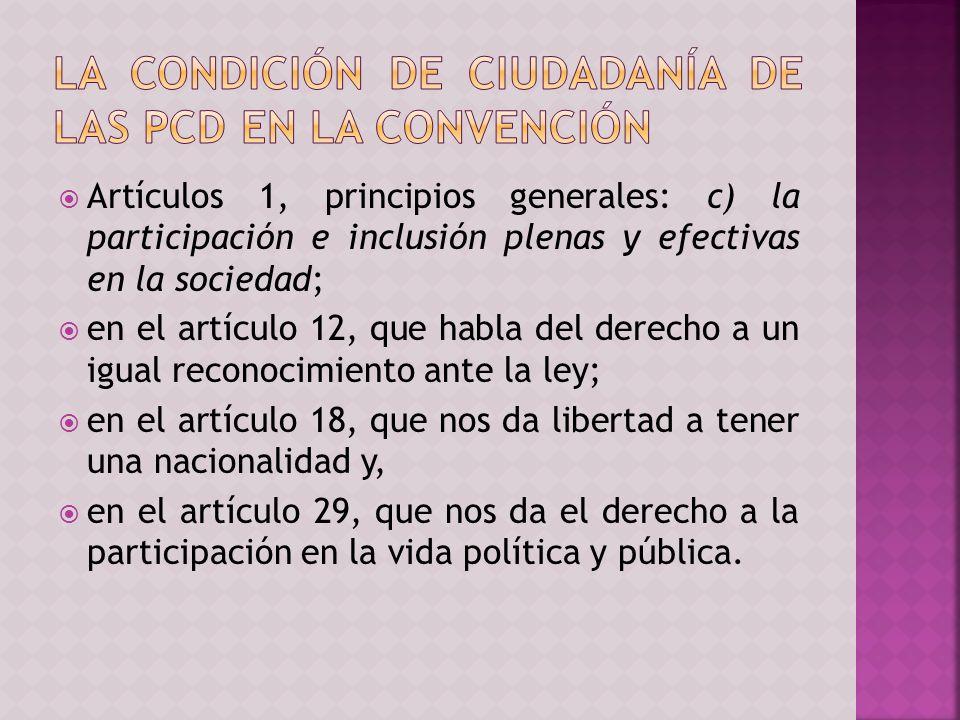 Artículos 1, principios generales: c) la participación e inclusión plenas y efectivas en la sociedad; en el artículo 12, que habla del derecho a un igual reconocimiento ante la ley; en el artículo 18, que nos da libertad a tener una nacionalidad y, en el artículo 29, que nos da el derecho a la participación en la vida política y pública.