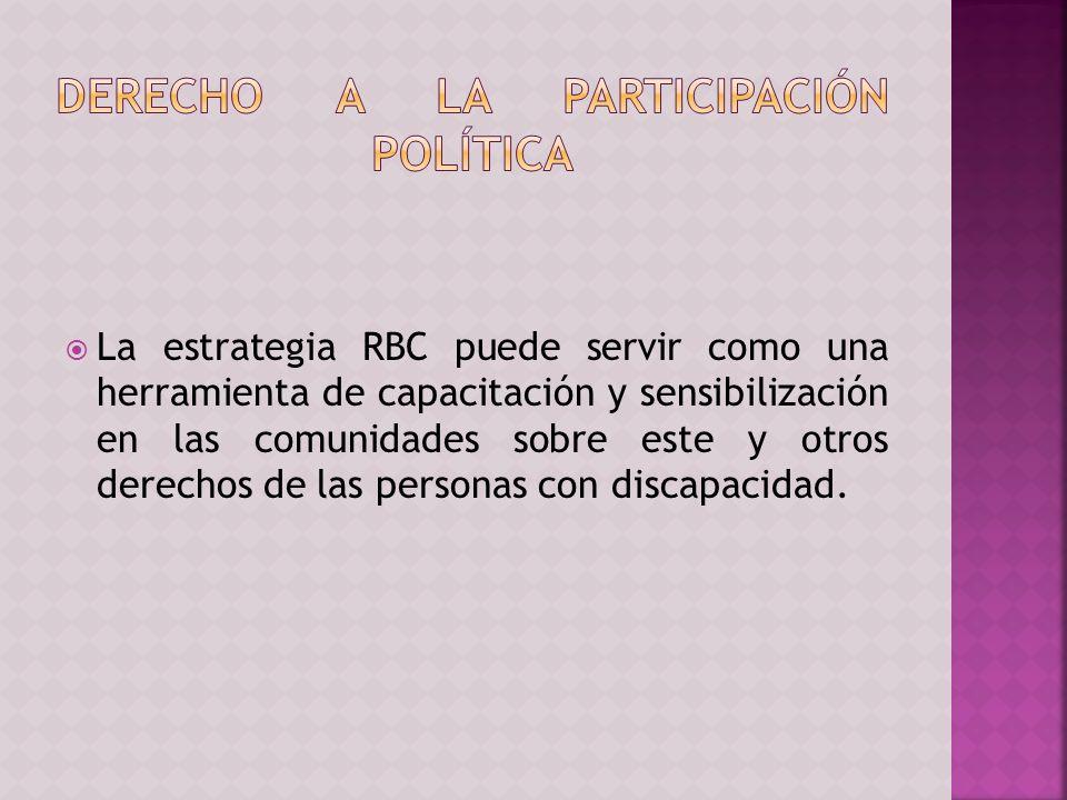 La estrategia RBC puede servir como una herramienta de capacitación y sensibilización en las comunidades sobre este y otros derechos de las personas con discapacidad.