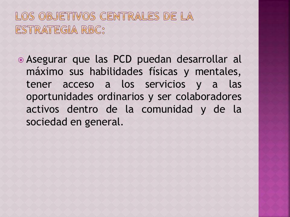 Asegurar que las PCD puedan desarrollar al máximo sus habilidades físicas y mentales, tener acceso a los servicios y a las oportunidades ordinarios y ser colaboradores activos dentro de la comunidad y de la sociedad en general.