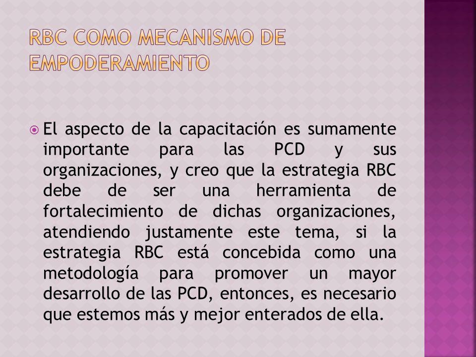 El aspecto de la capacitación es sumamente importante para las PCD y sus organizaciones, y creo que la estrategia RBC debe de ser una herramienta de fortalecimiento de dichas organizaciones, atendiendo justamente este tema, si la estrategia RBC está concebida como una metodología para promover un mayor desarrollo de las PCD, entonces, es necesario que estemos más y mejor enterados de ella.