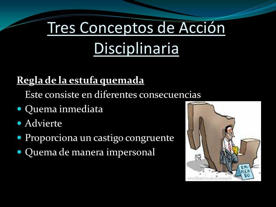 Acción disciplinaria progresiva Un enfoque hacia la acción disciplinaria diseñado para garantizar que se imponga la sanción mínima adecuada para la infracción.