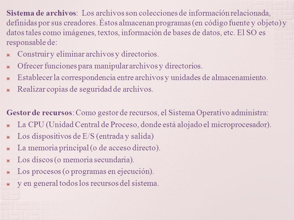 Sistema de archivos: Los archivos son colecciones de información relacionada, definidas por sus creadores.