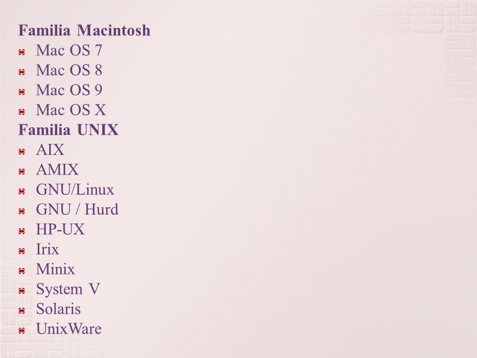 Familia Macintosh Mac OS 7 Mac OS 8 Mac OS 9 Mac OS X Familia UNIX AIX AMIX GNU/Linux GNU / Hurd HP-UX Irix Minix System V Solaris UnixWare