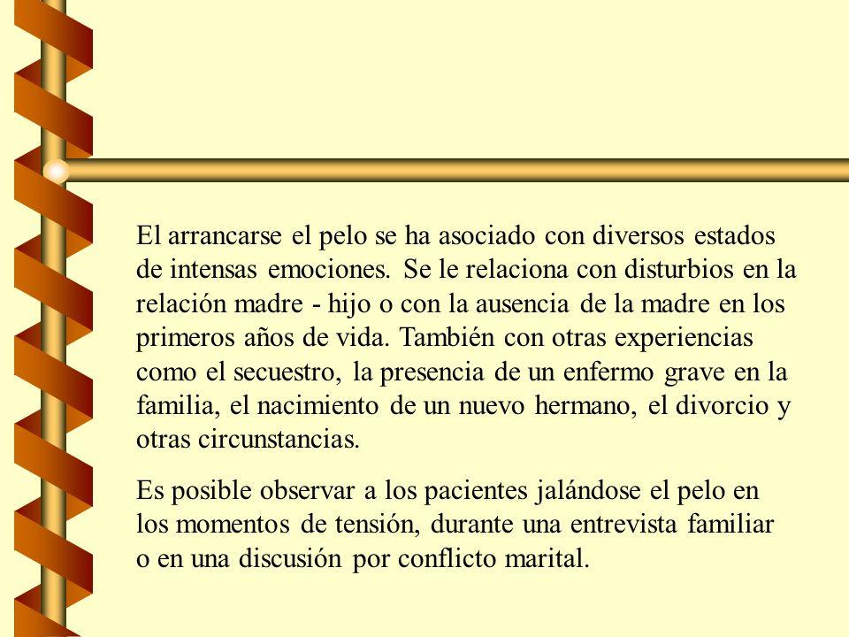 Factores Predisponentes Asociados con la Tricotilomanía : b Conflictos escolares.