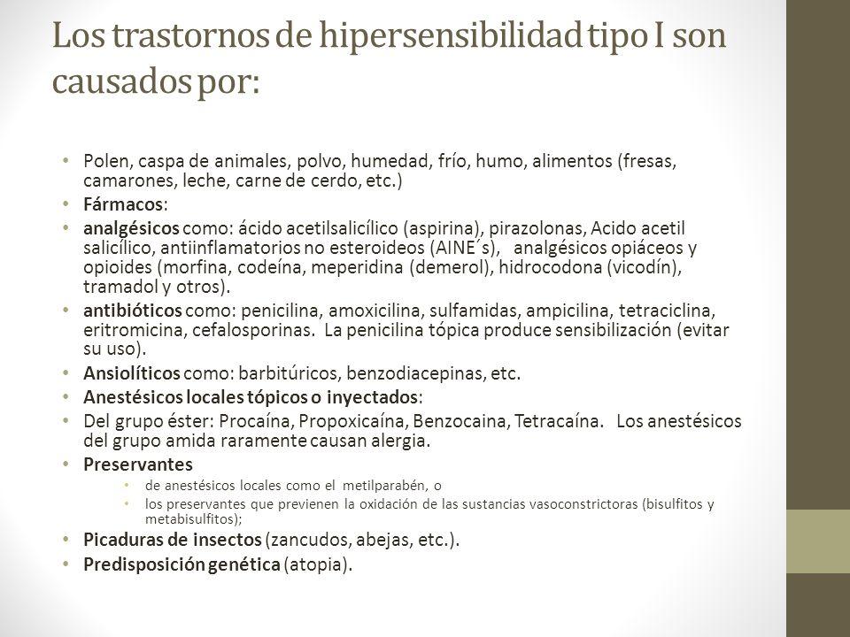 Los trastornos de hipersensibilidad tipo I son causados por: Polen, caspa de animales, polvo, humedad, frío, humo, alimentos (fresas, camarones, leche, carne de cerdo, etc.) Fármacos: analgésicos como: ácido acetilsalicílico (aspirina), pirazolonas, Acido acetil salicílico, antiinflamatorios no esteroideos (AINE´s), analgésicos opiáceos y opioides (morfina, codeína, meperidina (demerol), hidrocodona (vicodín), tramadol y otros).