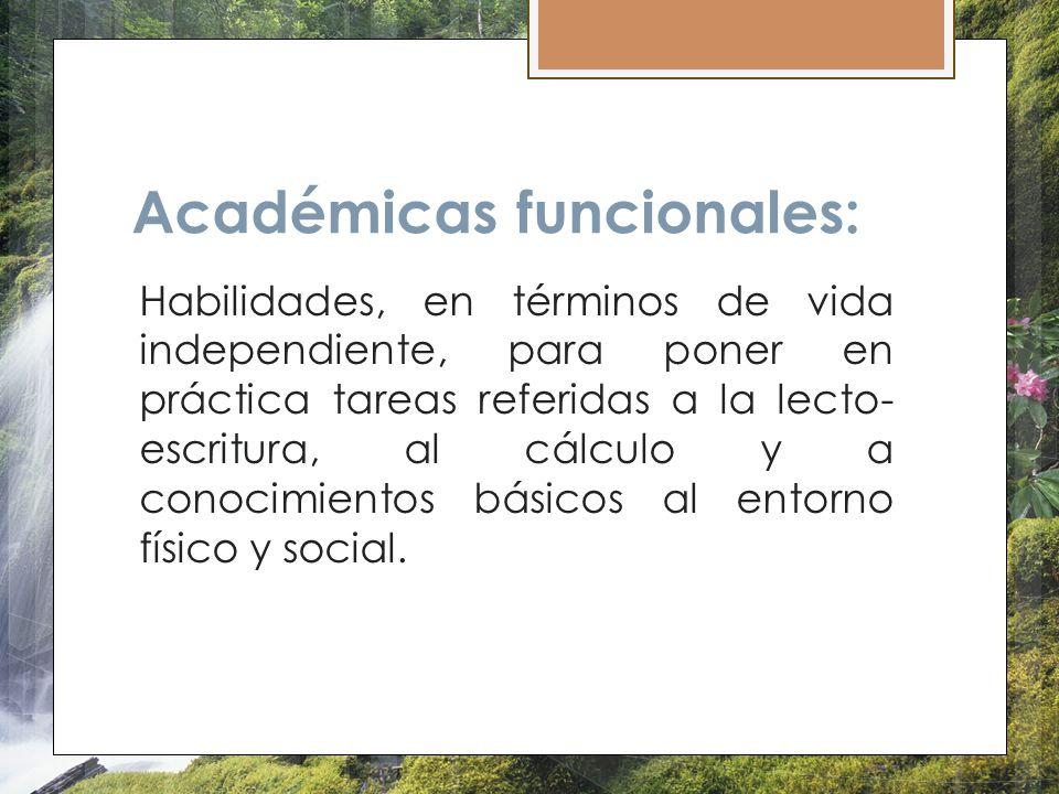 Académicas funcionales: Habilidades, en términos de vida independiente, para poner en práctica tareas referidas a la lecto- escritura, al cálculo y a