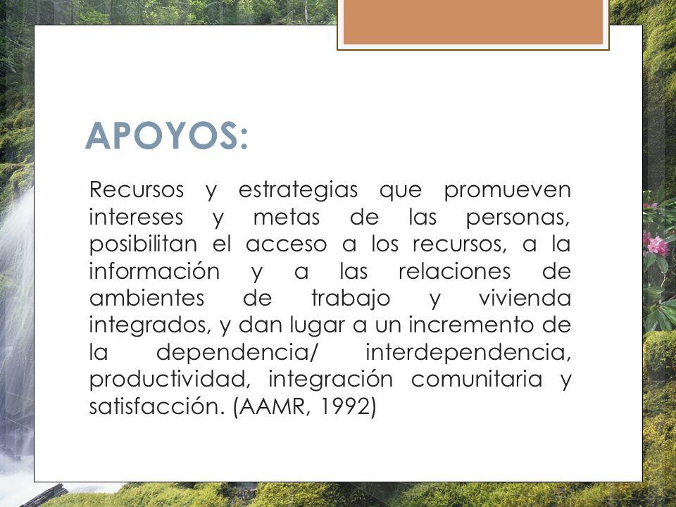 APOYOS: Recursos y estrategias que promueven intereses y metas de las personas, posibilitan el acceso a los recursos, a la información y a las relacio