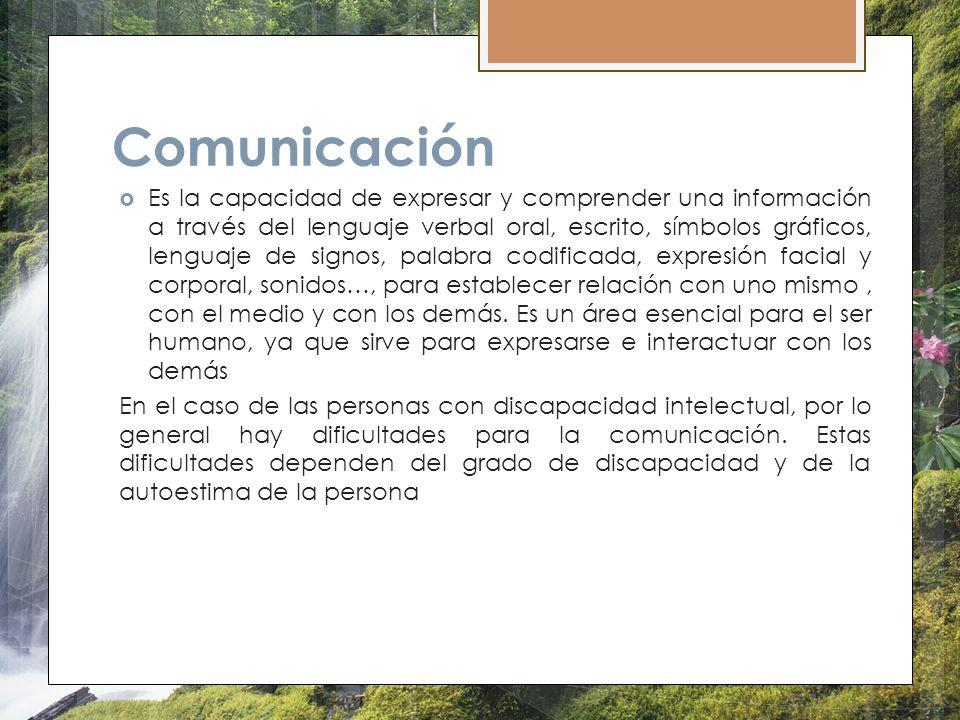 Comunicación Es la capacidad de expresar y comprender una información a través del lenguaje verbal oral, escrito, símbolos gráficos, lenguaje de signo