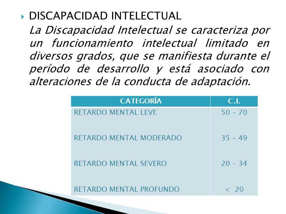 DISCAPACIDAD INTELECTUAL La Discapacidad Intelectual se caracteriza por un funcionamiento intelectual limitado en diversos grados, que se manifiesta d