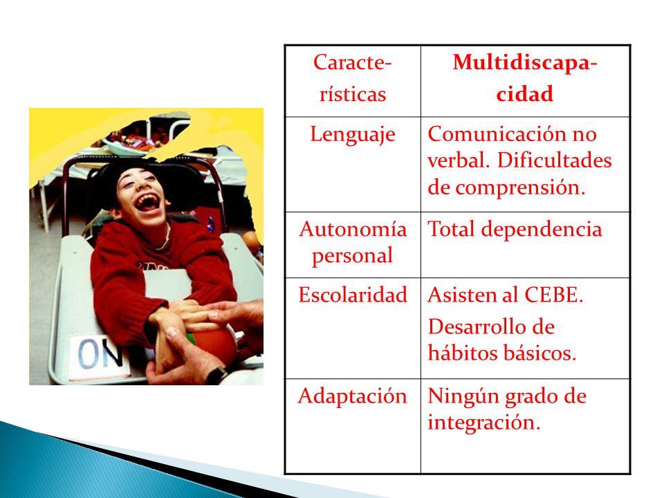 Caracte- rísticas Multidiscapa- cidad LenguajeComunicación no verbal. Dificultades de comprensión. Autonomía personal Total dependencia EscolaridadAsi