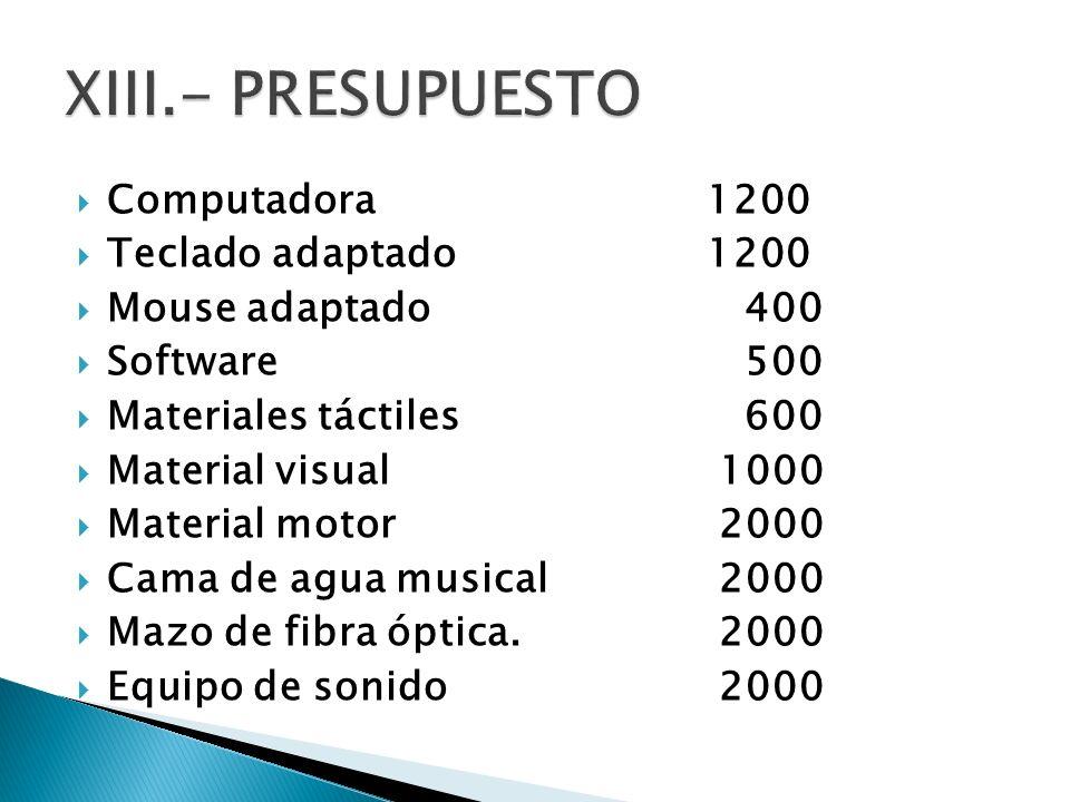 Computadora 1200 Teclado adaptado1200 Mouse adaptado 400 Software 500 Materiales táctiles 600 Material visual 1000 Material motor 2000 Cama de agua mu