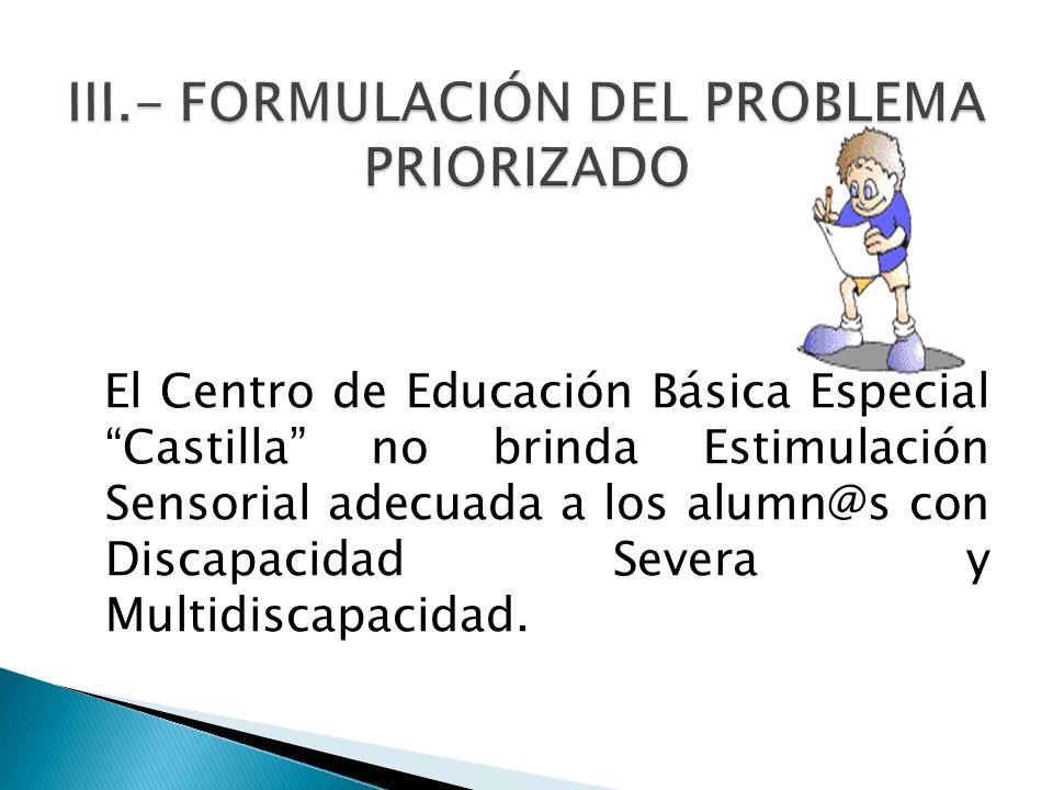 El Centro de Educación Básica Especial Castilla no brinda Estimulación Sensorial adecuada a los alumn@s con Discapacidad Severa y Multidiscapacidad.