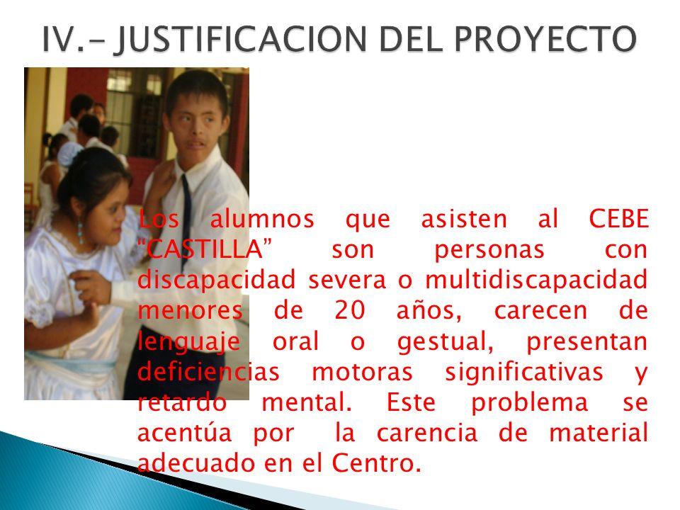 Los alumnos que asisten al CEBE CASTILLA son personas con discapacidad severa o multidiscapacidad menores de 20 años, carecen de lenguaje oral o gestu