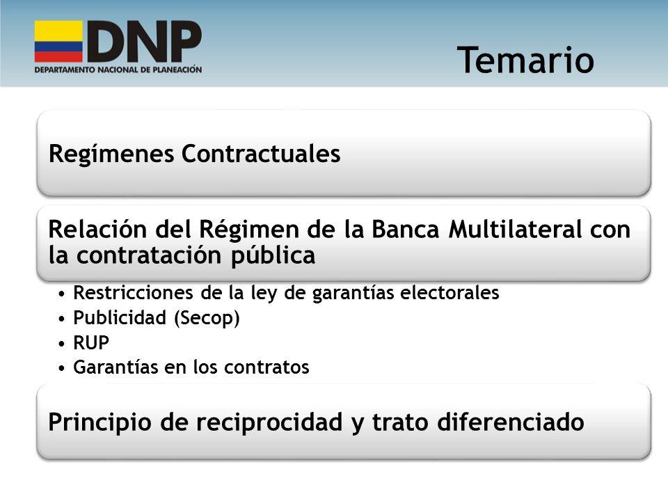 Regímenes Contractuales Relación del Régimen de la Banca Multilateral con la contratación pública Restricciones de la ley de garantías electorales Pub