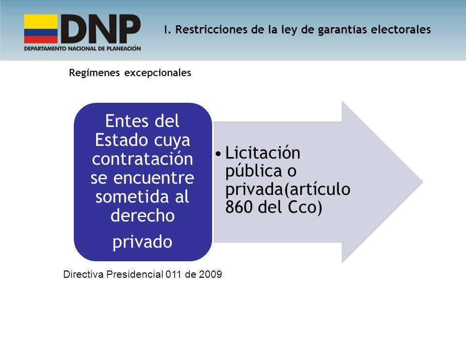 Regímenes excepcionales Licitación pública o privada(artículo 860 del Cco) Entes del Estado cuya contratación se encuentre sometida al derecho privado
