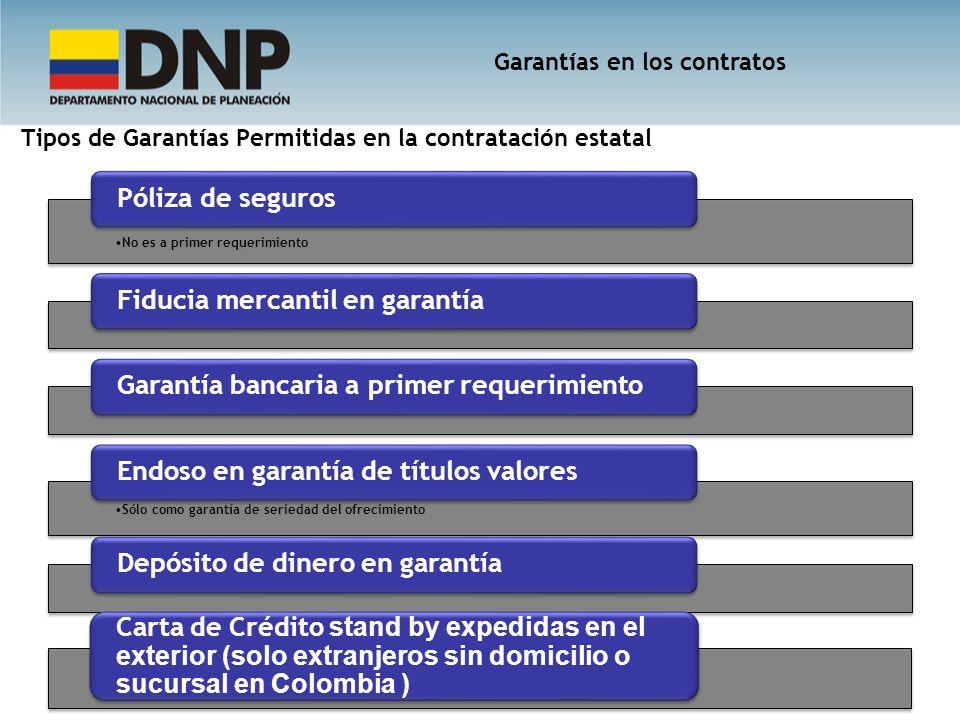 Tipos de Garantías Permitidas en la contratación estatal No es a primer requerimiento Póliza de segurosFiducia mercantil en garantíaGarantía bancaria
