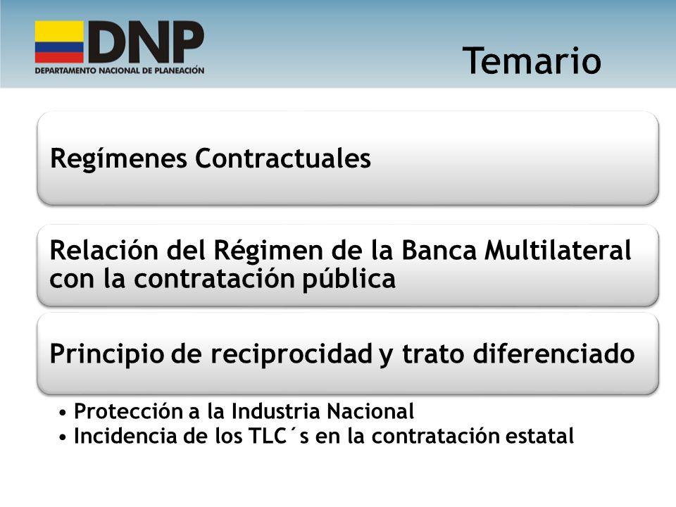 Regímenes Contractuales Relación del Régimen de la Banca Multilateral con la contratación pública Principio de reciprocidad y trato diferenciado Prote