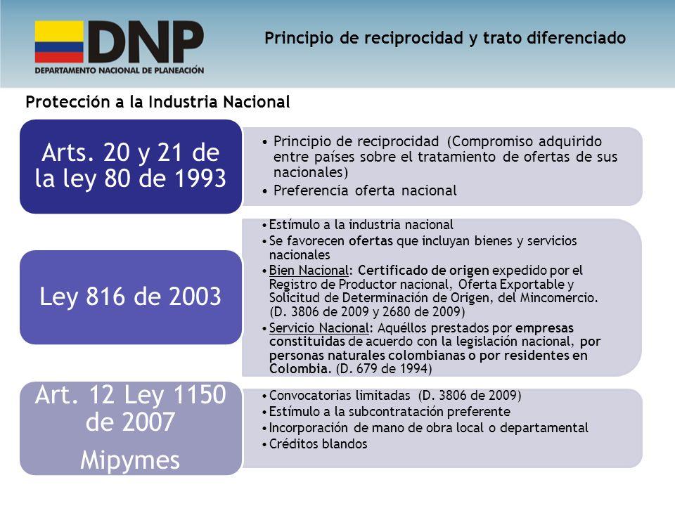 Principio de reciprocidad (Compromiso adquirido entre países sobre el tratamiento de ofertas de sus nacionales) Preferencia oferta nacional Arts. 20 y