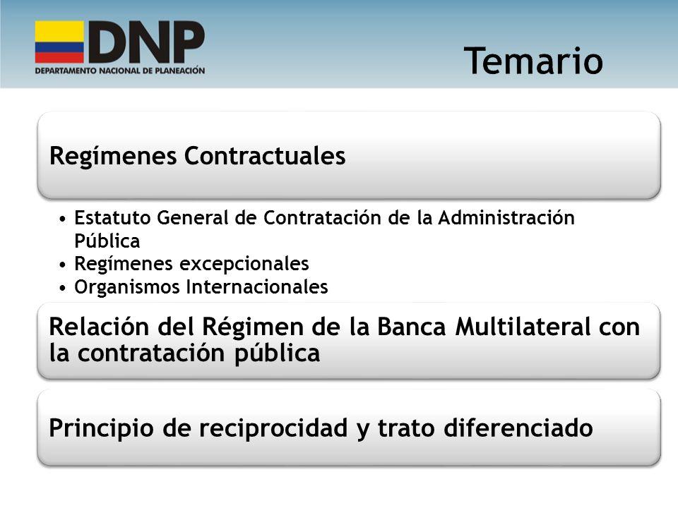 Regímenes Contractuales Estatuto General de Contratación de la Administración Pública Regímenes excepcionales Organismos Internacionales Relación del