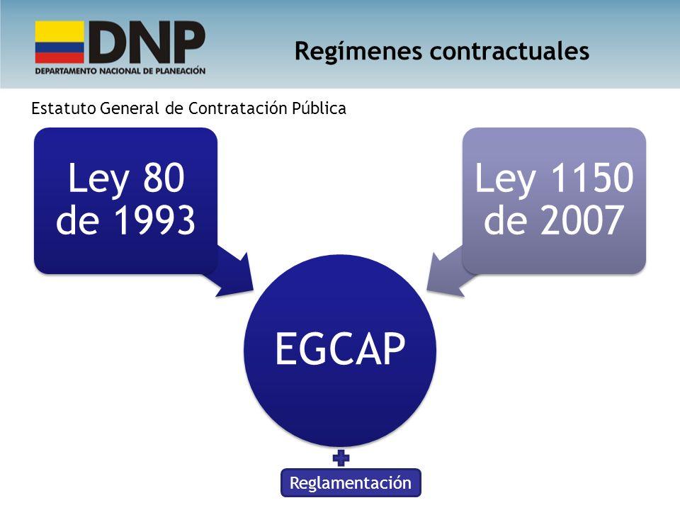 EGCAP Ley 80 de 1993 Ley 1150 de 2007 Regímenes contractuales Reglamentación Estatuto General de Contratación Pública