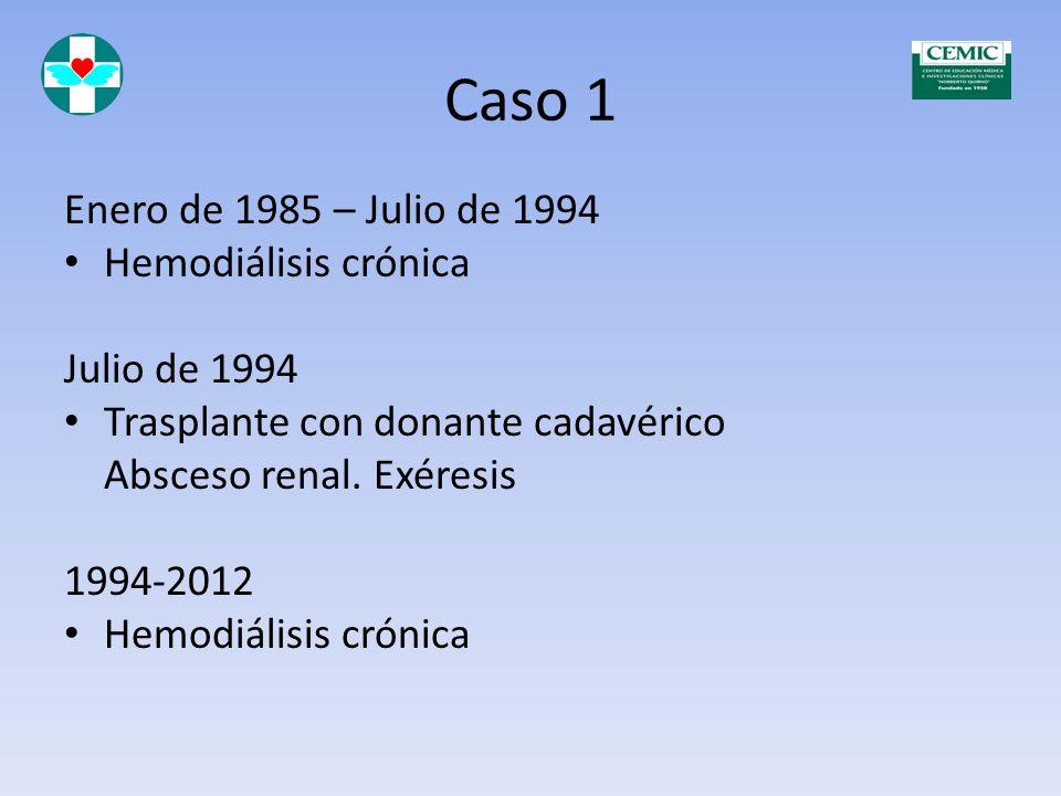 Caso 1 Noviembre de 1977 Ingresa en diálisis peritoneal 1978-1984 Hemodiálisis Octubre de 1984 Trasplante con dador vivo. Rechazo.