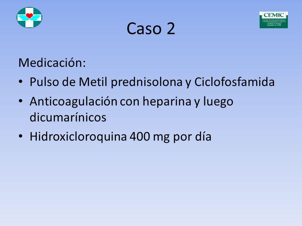 Caso 2 Serología: FAN 1/1280 Ho Pe Anti DNA N 1/320 C3 y C4 disminuídos Anti SSA y SSB positivos Anticardiolipina Ig G en títulos altos
