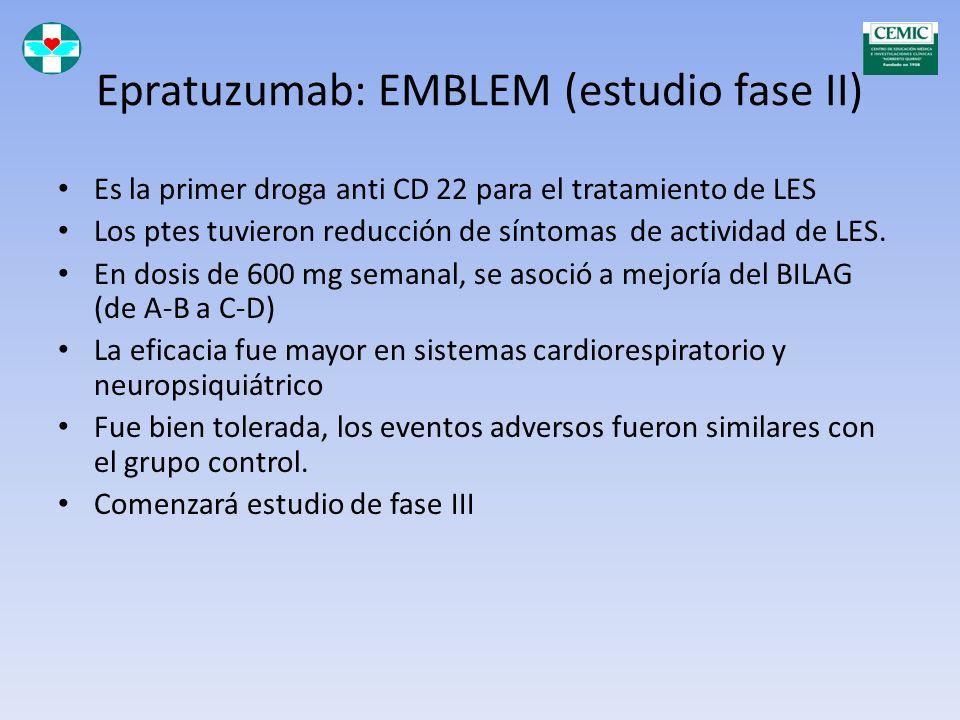 Epratuzumab: EMBLEM (estudio fase II) ANti CD 22, atc monoclonal humanizado Infusiones cada 2 semanas comparadas con placebo Mejoró actividad de LES m