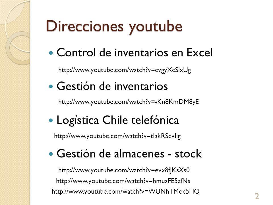 Direcciones youtube Control de inventarios en Excel Gestión de inventarios Logística Chile telefónica Gestión de almacenes - stock 2 http://www.youtub