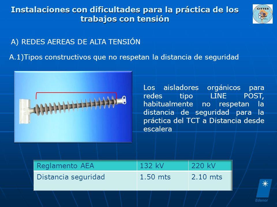 A) REDES AEREAS DE ALTA TENSIÓN A.1)Tipos constructivos que no respetan la distancia de seguridad Los aisladores orgánicos para redes tipo LINE POST,