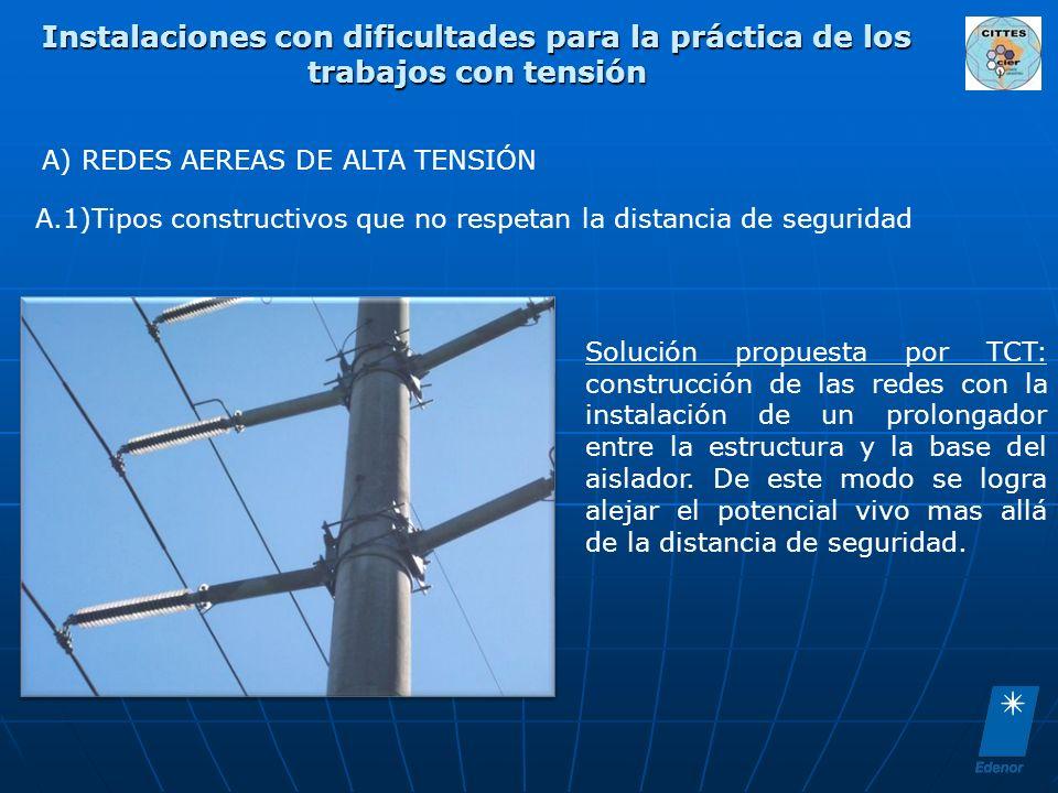 Instalaciones con dificultades para la práctica de los trabajos con tensión Solución propuesta por TCT: construcción de las redes con la instalación d