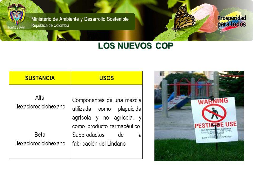 LOS NUEVOS COP SUSTANCIAUSOS Alfa Hexaclorociclohexano Componentes de una mezcla utilizada como plaguicida agrícola y no agrícola, y como producto far