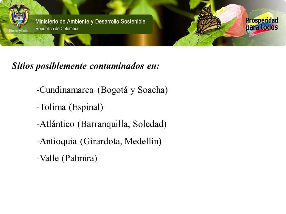 Sitios posiblemente contaminados en: -Cundinamarca (Bogotá y Soacha) -Tolima (Espinal) -Atlántico (Barranquilla, Soledad) -Antioquia (Girardota, Medel