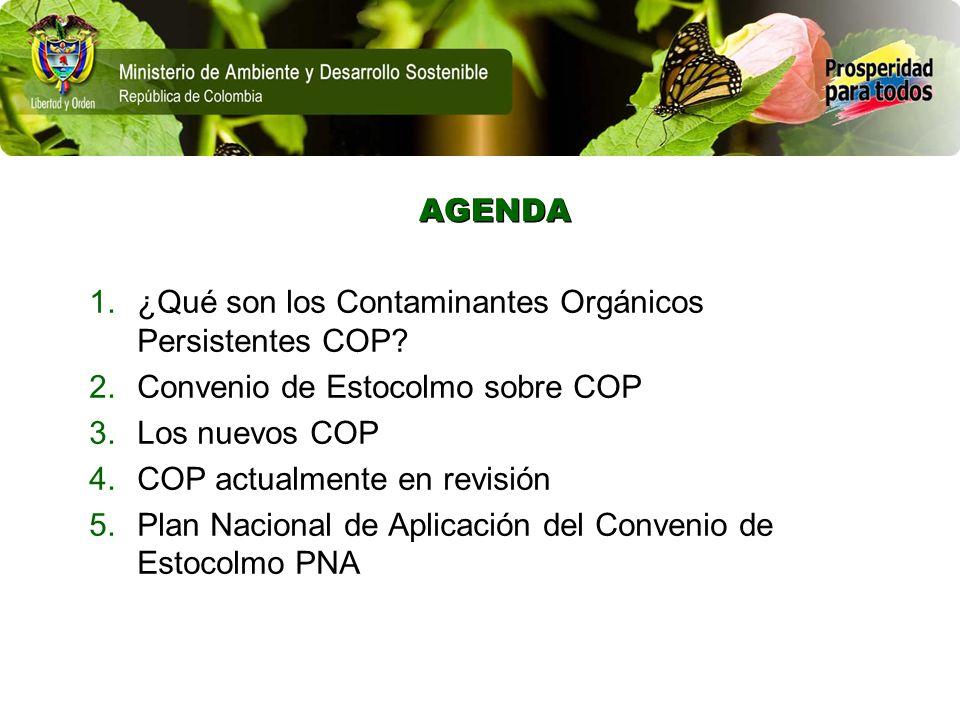 AGENDA 1.¿Qué son los Contaminantes Orgánicos Persistentes COP? 2.Convenio de Estocolmo sobre COP 3.Los nuevos COP 4.COP actualmente en revisión 5.Pla