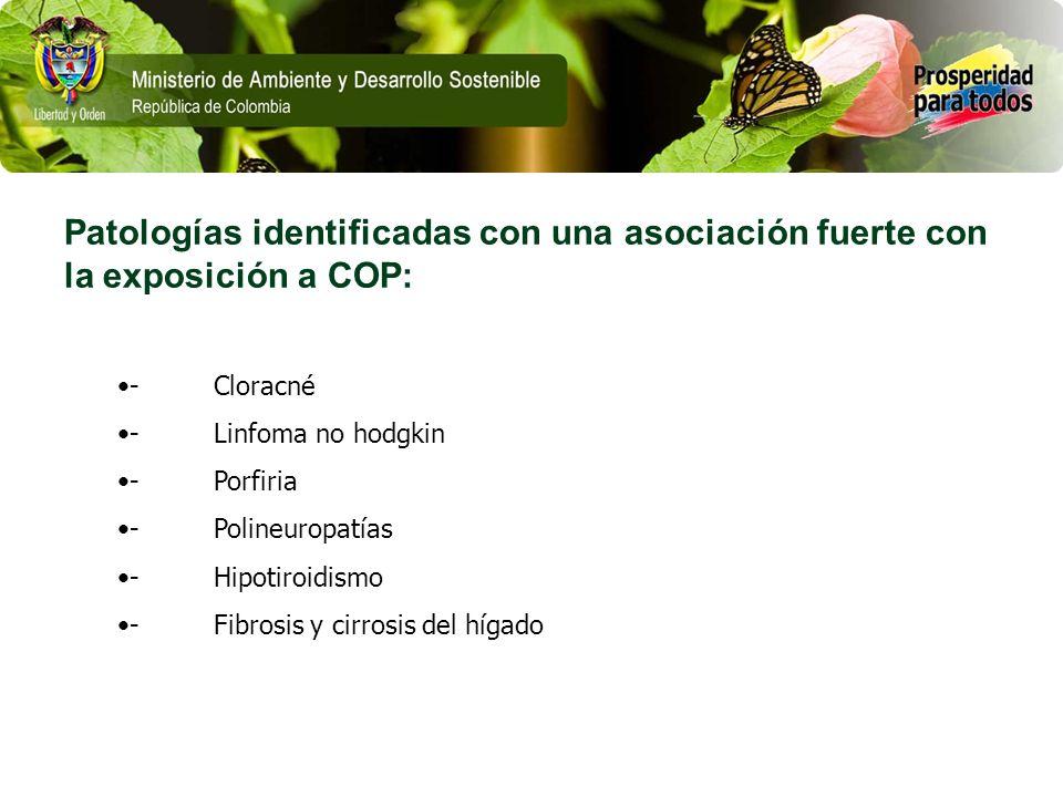 Patologías identificadas con una asociación fuerte con la exposición a COP: - Cloracné - Linfoma no hodgkin - Porfiria - Polineuropatías - Hipotiroidi