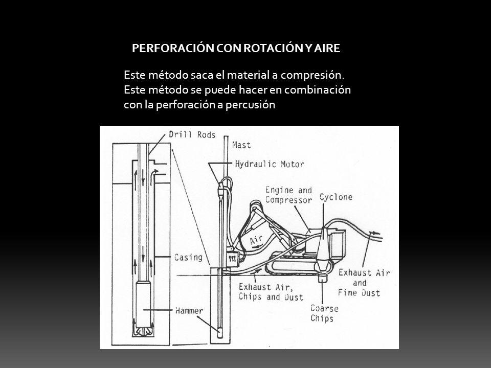 PERFORACIÓN CON ROTACIÓN Y AIRE Este método saca el material a compresión. Este método se puede hacer en combinación con la perforación a percusión