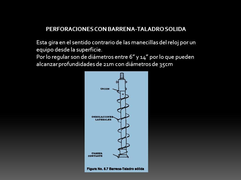PERFORACIONES CON BARRENA-TALADRO SOLIDA Esta gira en el sentido contrario de las manecillas del reloj por un equipo desde la superficie. Por lo regul