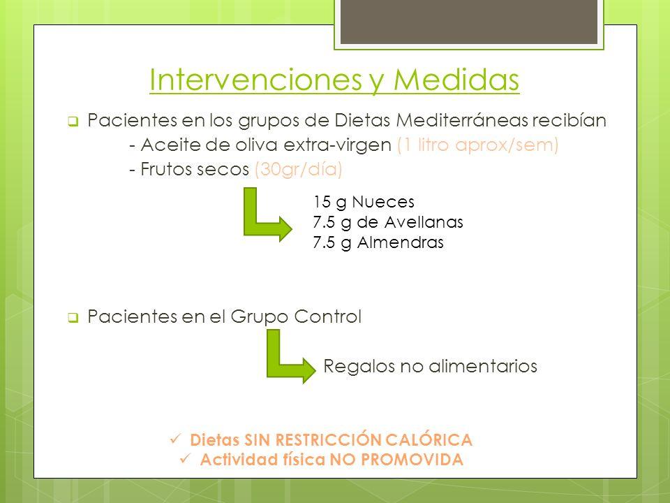 Intervenciones y Medidas Pacientes en los grupos de Dietas Mediterráneas recibían - Aceite de oliva extra-virgen (1 litro aprox/sem) - Frutos secos (30gr/día) Pacientes en el Grupo Control Regalos no alimentarios 15 g Nueces 7.5 g de Avellanas 7.5 g Almendras Dietas SIN RESTRICCIÓN CALÓRICA Actividad física NO PROMOVIDA