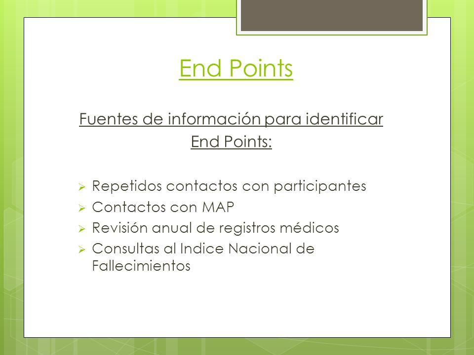 End Points Fuentes de información para identificar End Points: Repetidos contactos con participantes Contactos con MAP Revisión anual de registros médicos Consultas al Indice Nacional de Fallecimientos