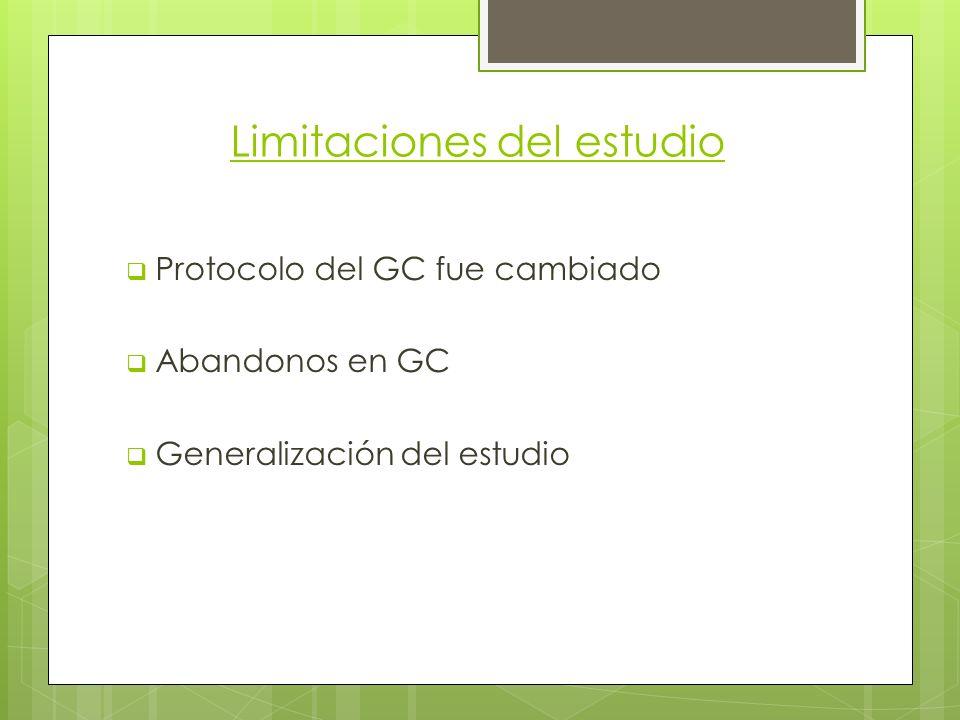Limitaciones del estudio Protocolo del GC fue cambiado Abandonos en GC Generalización del estudio