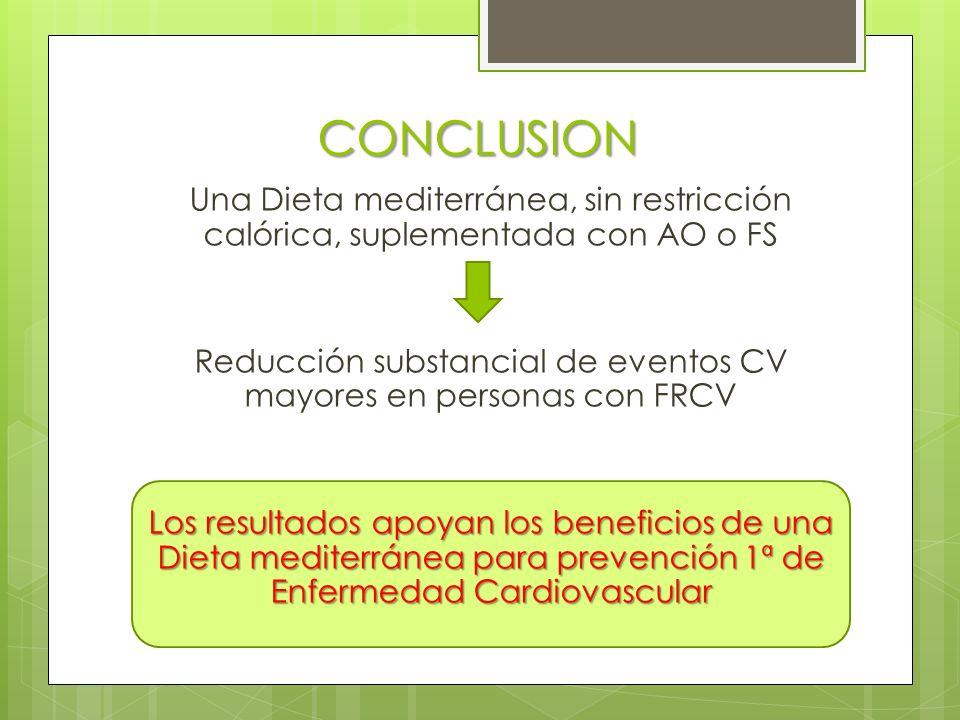 CONCLUSION Una Dieta mediterránea, sin restricción calórica, suplementada con AO o FS Reducción substancial de eventos CV mayores en personas con FRCV Los resultados apoyan los beneficios de una Dieta mediterránea para prevención 1ª de Enfermedad Cardiovascular