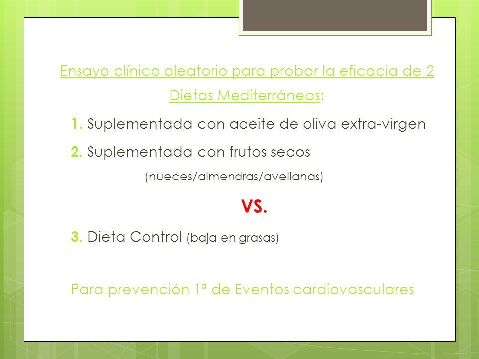 Ensayo clínico aleatorio para probar la eficacia de 2 Dietas Mediterráneas: 1.