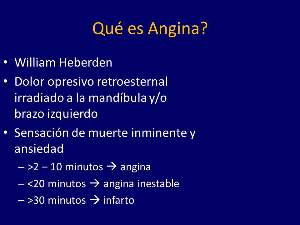 Equivalentes de Angina Son manifestaciones de isquemia – Disnea (aumento de la presión de llenado del VI) – Fatiga (gasto cardiaco disminuido) – Eructos (estimulación vagal-frénica) – Diaforesis (Reflejo de Bezold-Jarisch)