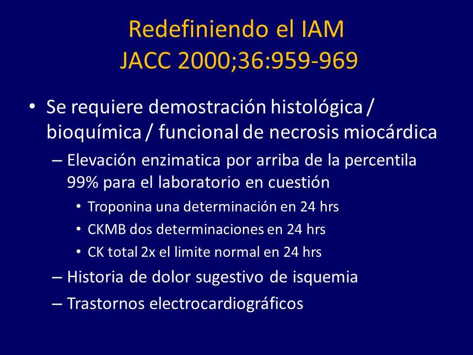 Redefiniendo el IAM JACC 2000;36:959-969 Se requiere demostración histológica / bioquímica / funcional de necrosis miocárdica – Elevación enzimatica por arriba de la percentila 99% para el laboratorio en cuestión Troponina una determinación en 24 hrs CKMB dos determinaciones en 24 hrs CK total 2x el limite normal en 24 hrs – Historia de dolor sugestivo de isquemia – Trastornos electrocardiográficos