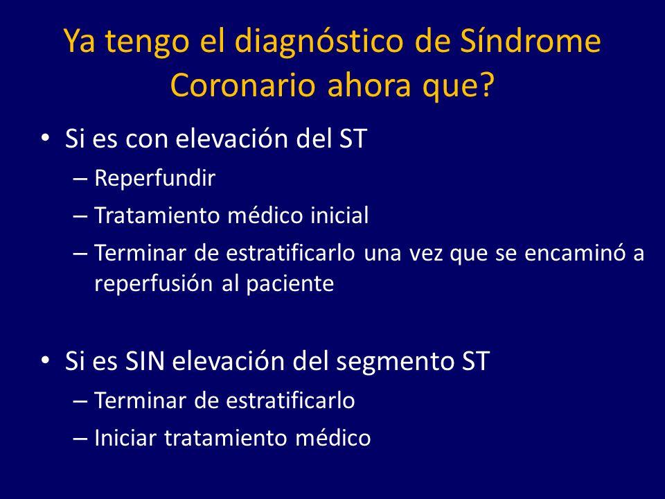 Ya tengo el diagnóstico de Síndrome Coronario ahora que.