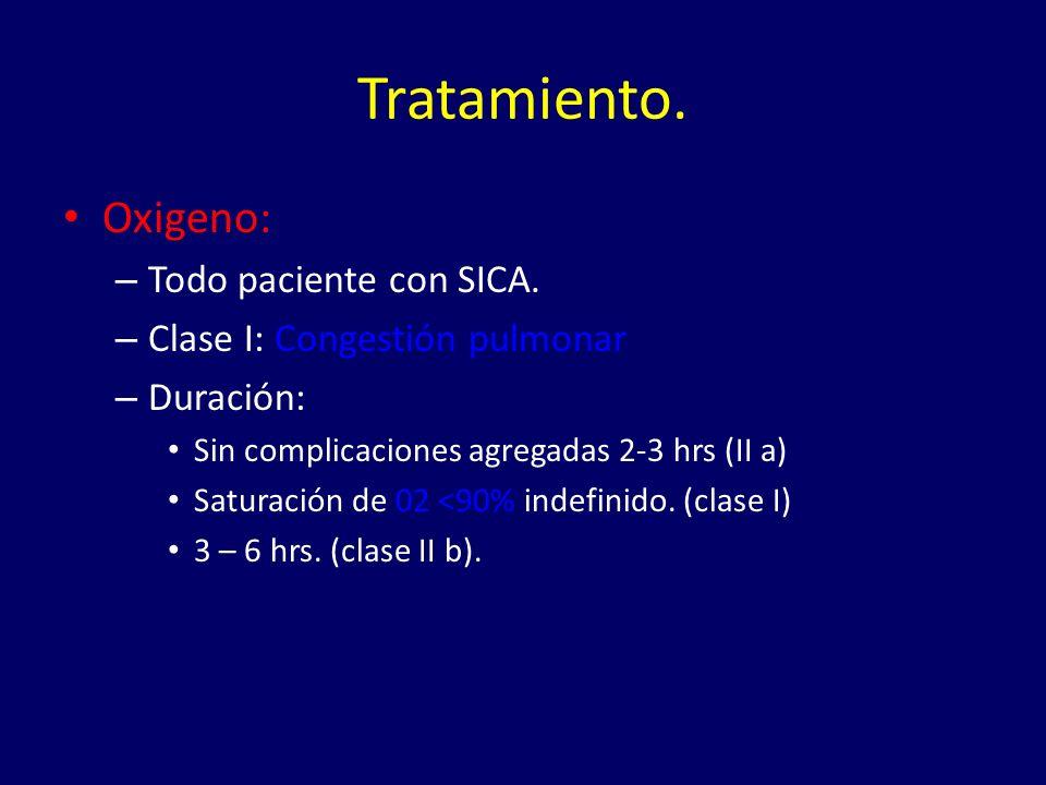 Tratamiento.Oxigeno: – Todo paciente con SICA.