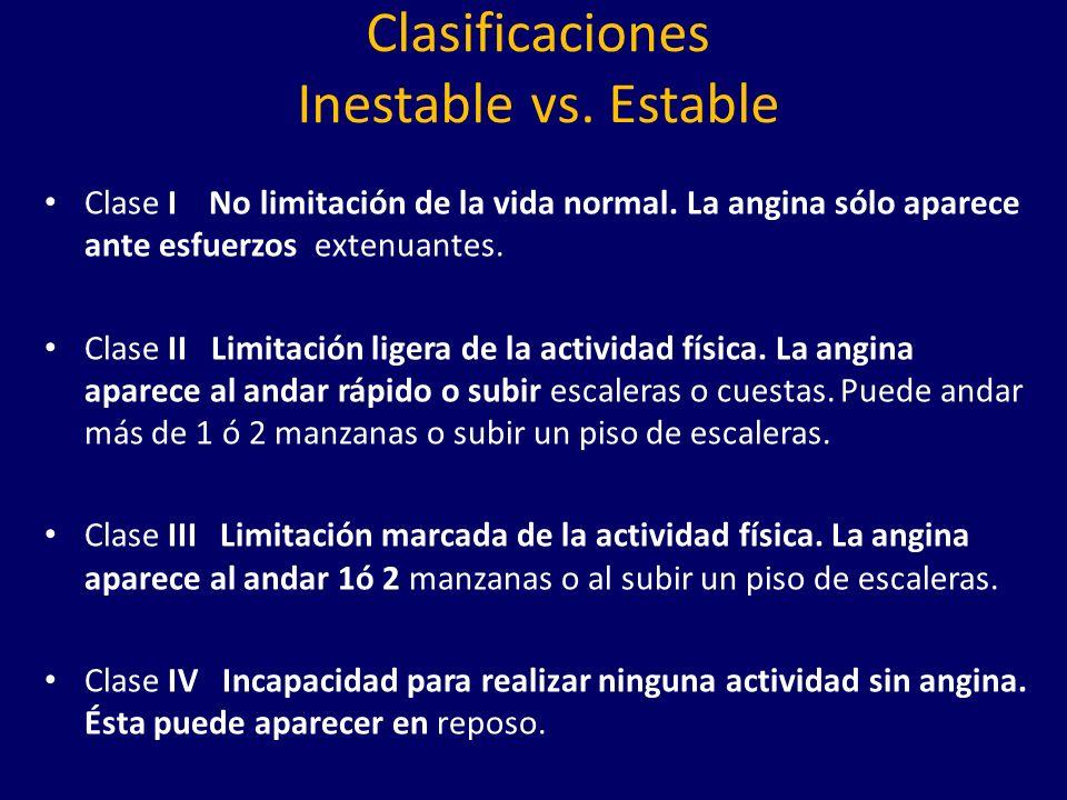 Clasificaciones Inestable vs.Estable Clase I No limitación de la vida normal.