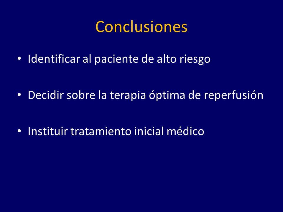 Conclusiones Identificar al paciente de alto riesgo Decidir sobre la terapia óptima de reperfusión Instituir tratamiento inicial médico