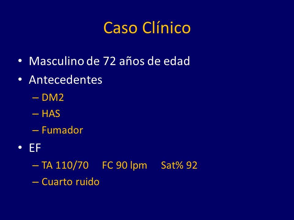 Caso Clínico Masculino de 72 años de edad Antecedentes – DM2 – HAS – Fumador EF – TA 110/70 FC 90 lpm Sat% 92 – Cuarto ruido